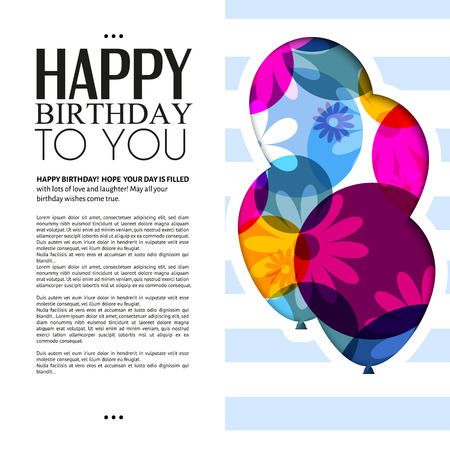 Vector birthday card with color balloons and text