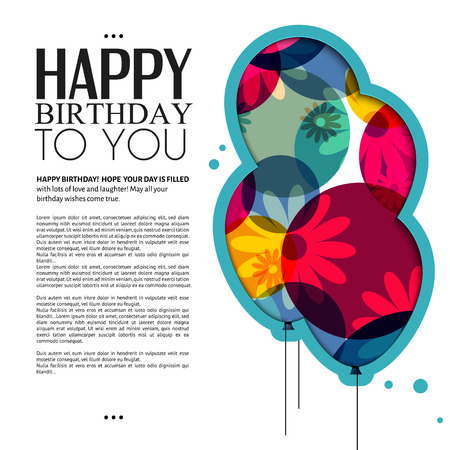 Vector birthday card with color balloons, flowers and text  Vectores