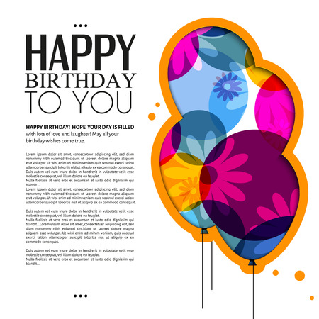 birthday card with color balloons, flowers and text  Vectores
