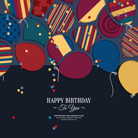 colorful birthday card with paper balloons and wishes. Vector