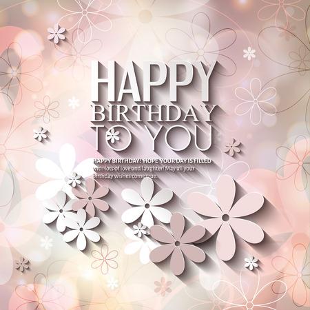Verjaardagskaart met bloemen op kleurrijke achtergrond.