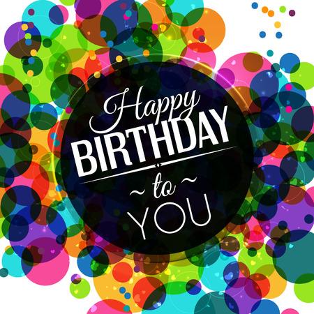 폴카 도트 배경에 밝은 색상의 생일 카드. 일러스트