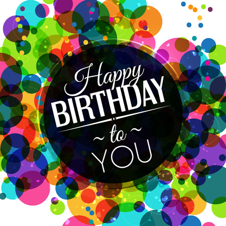 birthday decoration: Birthday card in bright colors on polka dots background.