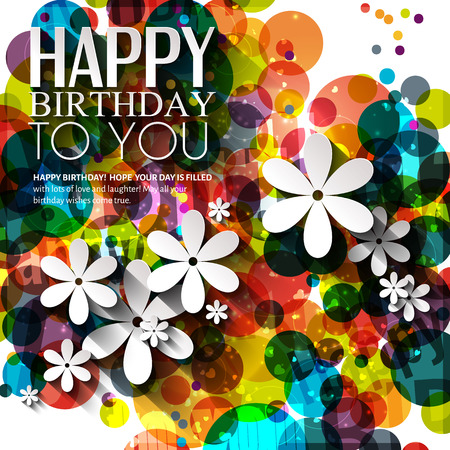 Birthday card in bright colors on polka dots background. Vector