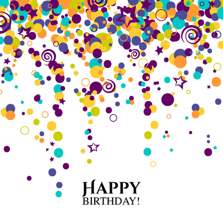 Birthday card with polka dots and wishes text. Vector