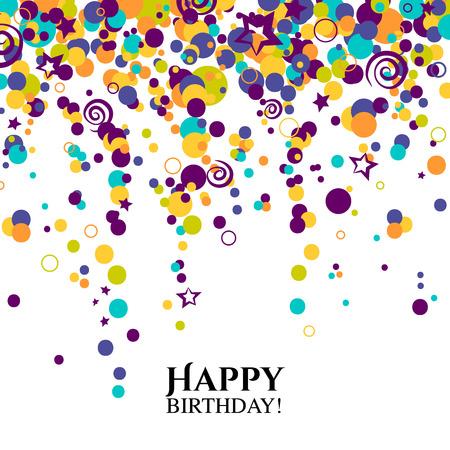 Verjaardagskaart met stippen en wensen tekst.