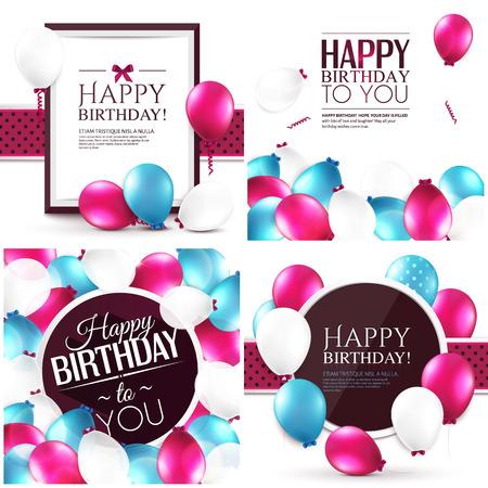 globos de cumpleaños: Ilustraciones del vector. Conjunto de coloridas tarjetas de cumpleaños.