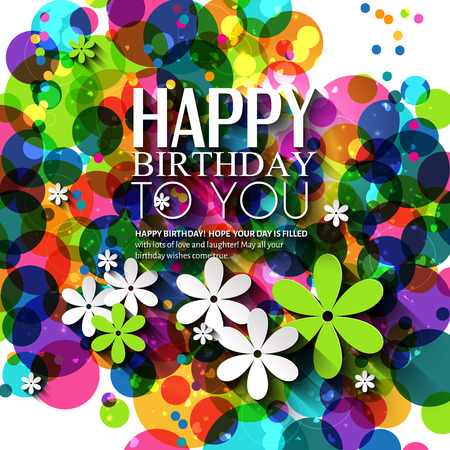 adults: Birthday card in bright colors on polka dots background.