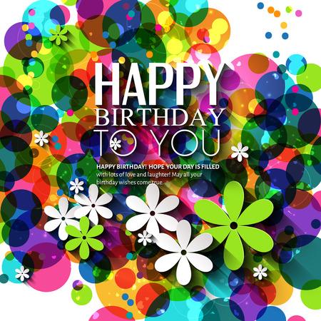flores de cumpleaños: Tarjeta de cumpleaños en colores brillantes en fondo de los lunares.