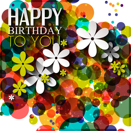 Birthday card in bright colors on polka dots background.