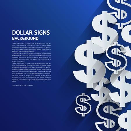 dollaro: Illustrazione vettoriale. Il segno del dollaro su sfondo blu.
