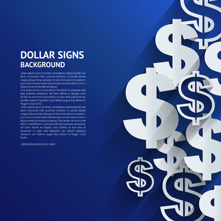 saving accounts: Vector illustration. Dollar signs on blue background.