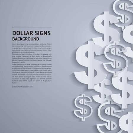 Vector illustration. Dollar signs on grey background.