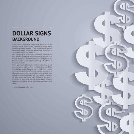 Vector illustratie. Dollartekens op een grijze achtergrond.