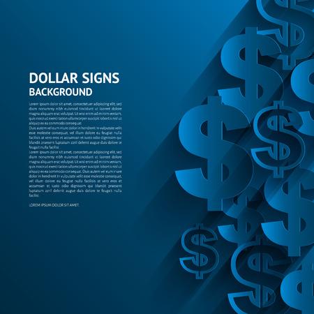 Vector illustratie. Dollartekens op blauwe achtergrond.