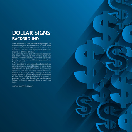 argent: Vector illustration. signes de dollar sur fond bleu. Illustration