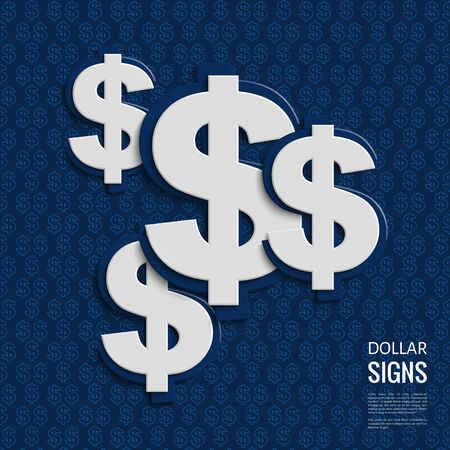 Dollar signs on blue background. Illustration