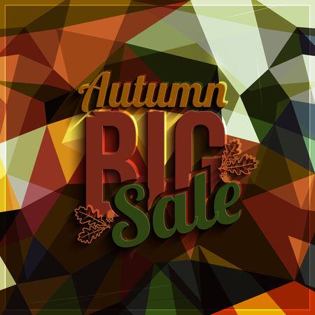 eco slogan: Vector autumn sale on triangular background in bright colors.
