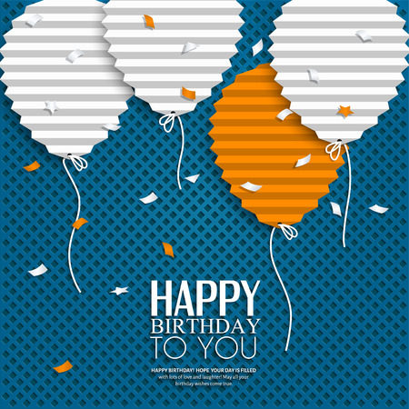 Birthday card with balloons in the style of flat folded paper. Illustration