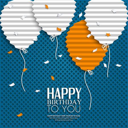 Kartka urodzinowa z balonami w stylu płaskiej złożonego papieru.