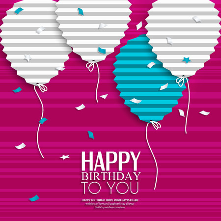 Birthday card with balloons in the style of flat folded paper. Stock Illustratie