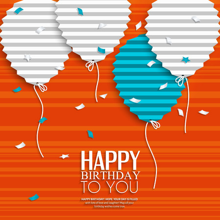 background card: Birthday card with balloons in the style of flat folded paper. Illustration