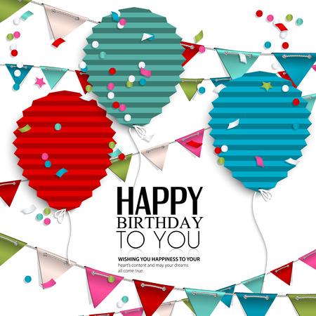 compleanno: Scheda di compleanno con palloncini in stile di carta piegato piatto. Vettoriali