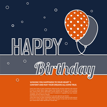 Vector illustration. Birthday wish with balloons and text. Ilustração