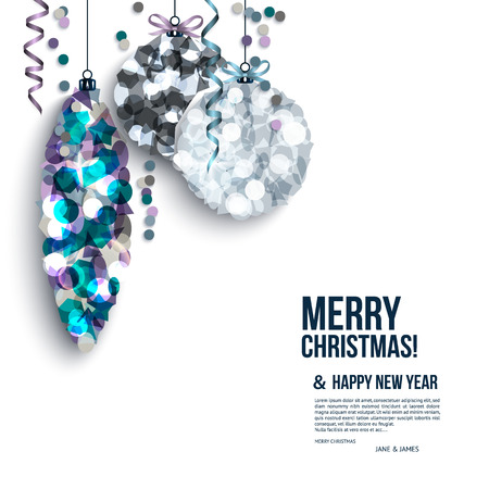 Christmas card with balls composed of shards.
