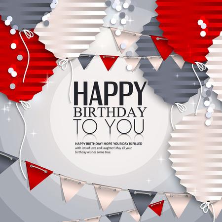 Scheda di compleanno con palloncini in stile di carta piegato piatto. Archivio Fotografico - 32747782