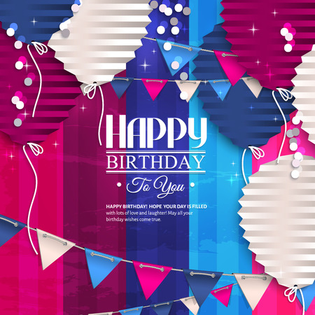 birth day: Birthday card with balloons in the style of flat folded paper. Illustration