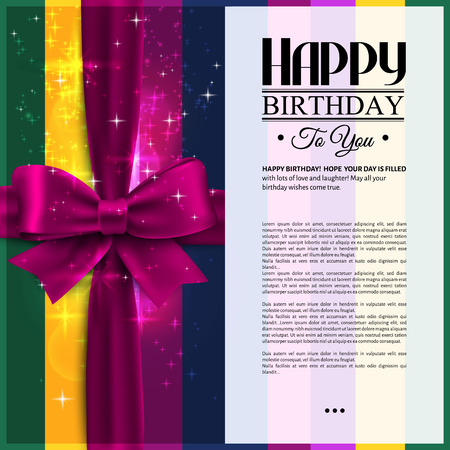 Vector birthday card with pink ribbon and wishes text.