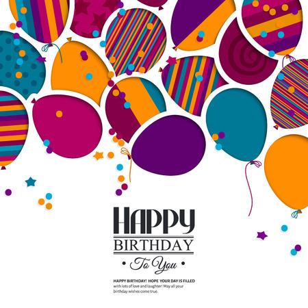 Kleurrijke verjaardagskaart met papieren ballonnen en wensen. Stock Illustratie