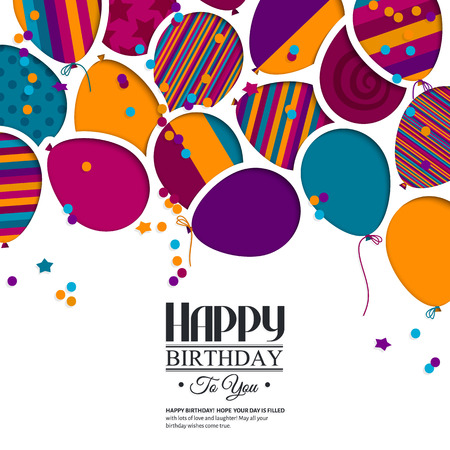 Colorful birthday card with paper balloons and wishes. Vectores
