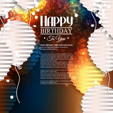 フラットの折り畳まれた紙のスタイルで風船で誕生日カード。  イラスト・ベクター素材