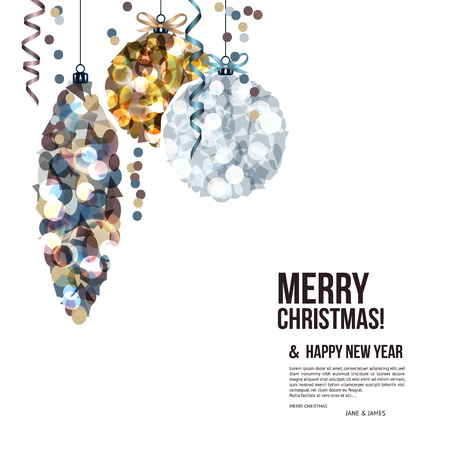 christmas parties: Christmas card with balls composed of shards.