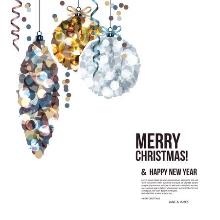 navidad elegante: Tarjeta de Navidad con bolas compuestas de fragmentos. Vectores