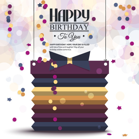 Vector birthday card with gift box in the style of flat folded paper.