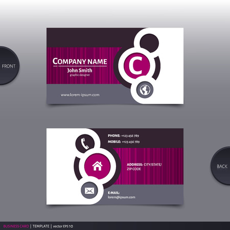visiting card: Business card template, modern abstract design. Vector.