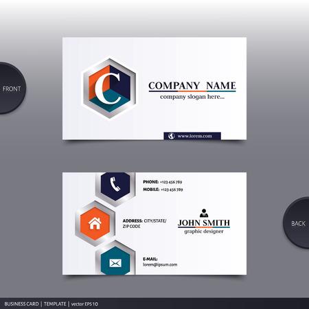 call card: Business card template, modern abstract design. Vector.