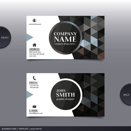 Business card template, modern abstract design. Vector.