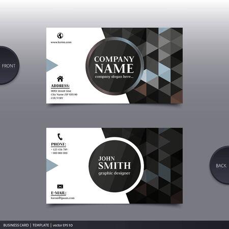 Business card template, modern abstract design. Vector.