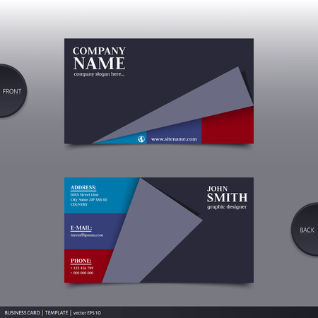Vector abstract creative business card design template.