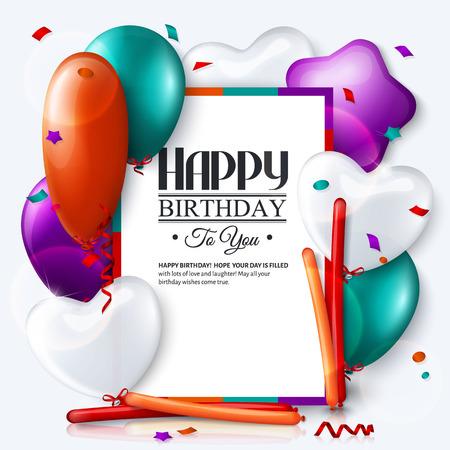 invitacion fiesta: Tarjeta de cumpleaños con globos de colores y confeti.