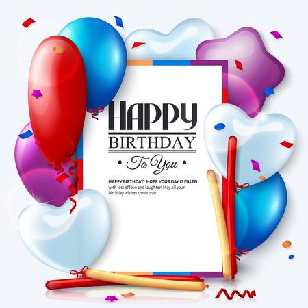 Scheda di compleanno con palloncini colorati e coriandoli. Archivio Fotografico - 35092473
