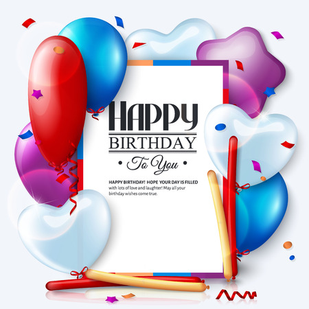 Birthday card with colorful balloons and confetti. Stock Illustratie