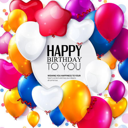 birthday wishes: Birthday card with colorful balloons and confetti. Illustration