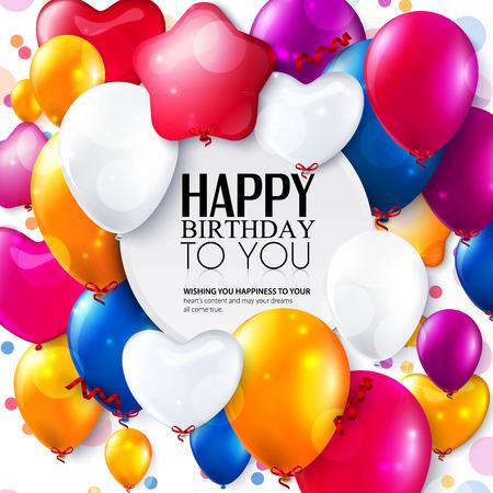 Scheda di compleanno con palloncini colorati e coriandoli. Archivio Fotografico - 35090821
