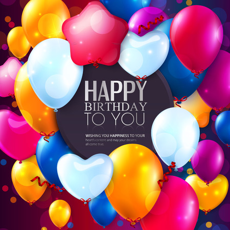 Birthday card with colorful balloons and confetti. Ilustração