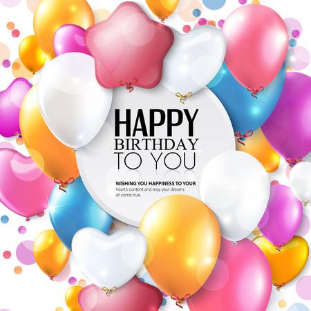 カラフルな風船や紙吹雪と誕生日カード。